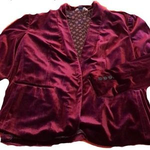 Old Navy Jackets & Coats - OLD NAVY BURGUNDY VELVET BLAZER